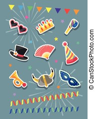 Set of Carnival stickers.