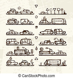 Set of cars and traffic signs on shop shelves, sketch for...