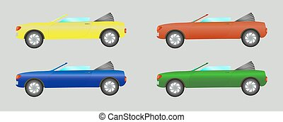 Set of cars convertible in different colors