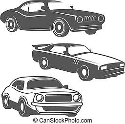 Set of cars icons isolated on white background. Design elements