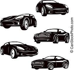 Set of cars icons isolated on white background. Design elements for logo, label, emblem, sign, badge. Vector illustration