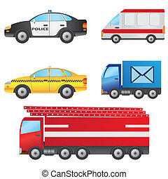 Set of cars. - Set of different types of cars including...