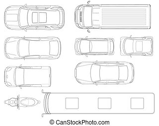 Set of cars top view in outline. Vector set of outline icons cars. City transport. View to the top