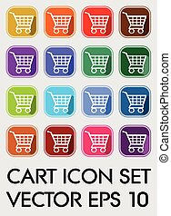 Set of cart icons, rounded square in different color variants, flat buttons with white cart pictogram