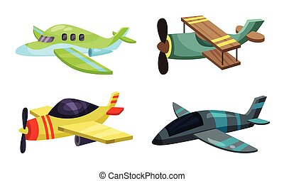 Set of cartoon airplanes. Vector illustration on a white background.