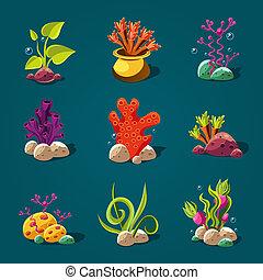 Set of Cartoon Algae, Elements for Aquarium Decoration. -...