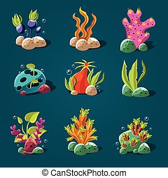 Set of Cartoon Algae, Elements for Aquarium Decoration.