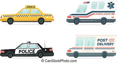 Set of cartoon ambulance, police, delivery and yellow taxi car. Delivery, law and aid symbol. Vector auto, trailer and van design template. Isolated objects on white background in flat style.