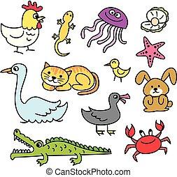 Set of cartoon animal doodle