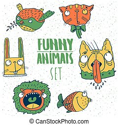 Set of cartoon animal emblems