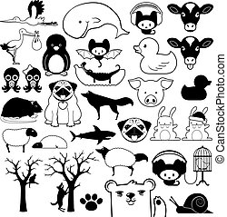 Set of cartoon animal icons