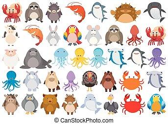 Set of cartoon animal