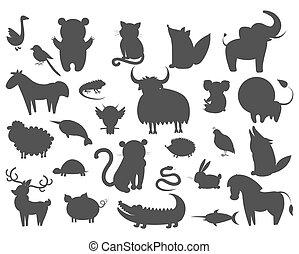 Set of Cartoon Animal Pet and Wild Beasts Vector