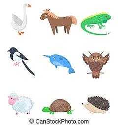 Set of Cartoon Animal Pet and Wild Nine Icons