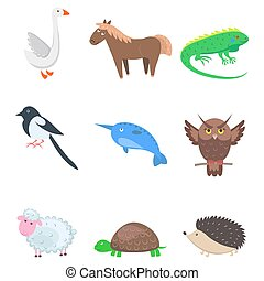 Set of Cartoon Animal Pet and Wild Nine Icons