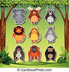 Set of cartoon animal sticker
