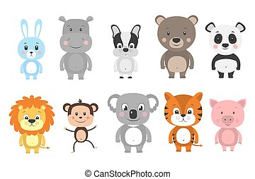 Set of cartoon animals. Vector illustration