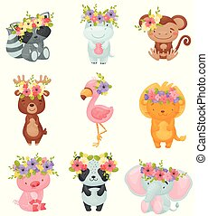 Set of cartoon animals with wreaths of flowers on their heads. Vector illustration on white background.
