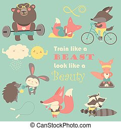 Set of cartoon animals working out