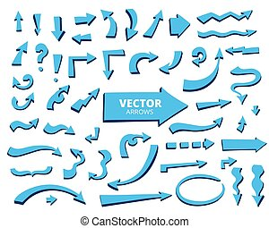 Set of cartoon arrows. Hand drawn design elements isolated on wh