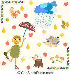 Set of cartoon autumn elements.