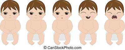 Set of cartoon babies with expressions