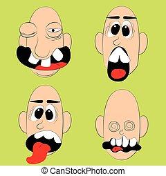 Set of cartoon bald man faces with facial expression.