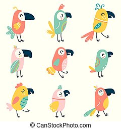 Set of cartoon beautiful parrots and wild birds. Funny baby macaw parrots. Vector illustration on a white isolated background