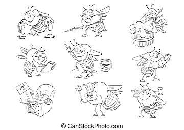 Set of cartoon bees line drawings