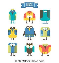 Set of cartoon bird