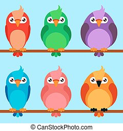 Set of cartoon birds icons