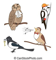 Set of cartoon birds. Owl, woodpecker, magpie, nightingale.