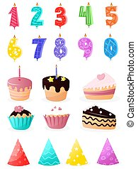 Set of cartoon birthday party and decoration