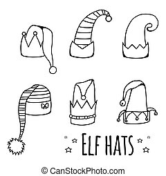 Set of cartoon black and white elf hats.