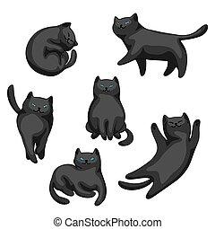 Set of cartoon black cats.