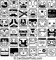 set of cartoon box face silhouettes