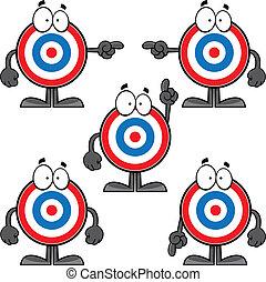 Illustrated set of cartoon bulls eye characters.