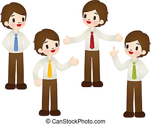 Set of cartoon businessman in various poses