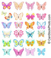set of cartoon butterflies with light soft colors. vector