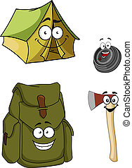 Set of cartoon camping and hiking icons with a green canvas tent, green rucksack or backpack and chopper or axe with smiling faces for a healthy lifestyle, isolated on white