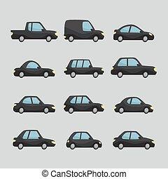 Set of cartoon cars design