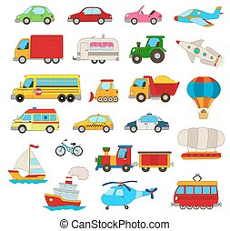 set of cartoon cars, vehicles, other transportation on white.