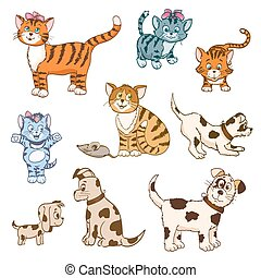 set of cartoon cats and dogs. vector illustration