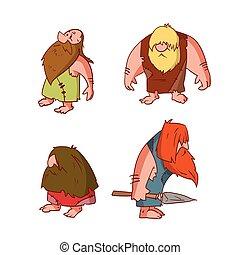 Set of cartoon cavemen