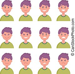 Set of Cartoon Character Faces with Different emotions. Vector