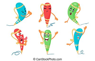 Set Of Cartoon Character Vector Illustrations Of Colorful Animated Pens