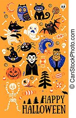 Set of cartoon characters and elements for Halloween