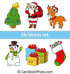 Set of cartoon characters. Christmas tree, santa claus, deer, snowman, gift boxes, sock with sweets. Happy New Year and Merry Christmas. Hand drawn. Color vector isolated illustration.