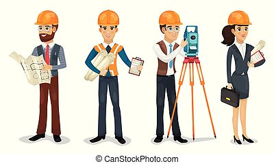 Set of cartoon characters. Civil engineer, surveyor,...