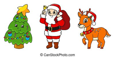 Set of cartoon characters. Fairytale Christmas tree, Santa Claus with gifts, cute deer. Happy New Year and Merry Christmas. Hand drawn. Color vector isolated illustration.
